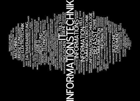 tecnologia informacion: Palabra nube de tecnolog�a de la informaci�n en el idioma alem�n