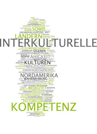 intercultural: Word cloud of intercultural in German language Stock Photo