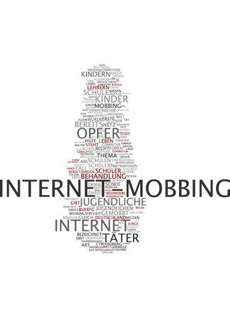 mobbing: Word cloud of internet mobbing in German language Stock Photo