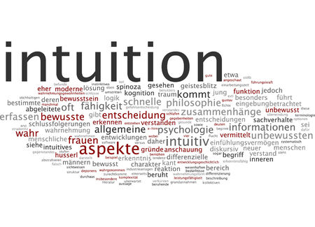 intuition: Word cloud of intuition in German language Stock Photo