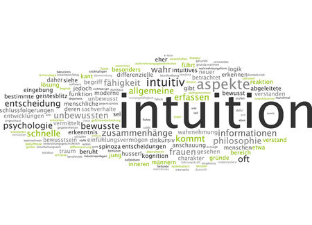 aspects: Word cloud of intuition in German language Stock Photo