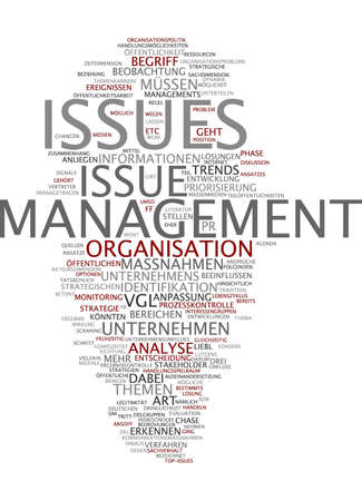 Word cloud of management issue in German language photo