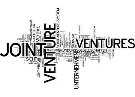 Word cloud van de joint venture in de Duitse taal Stockfoto