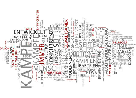clashes: Word cloud of fight in German language Stock Photo