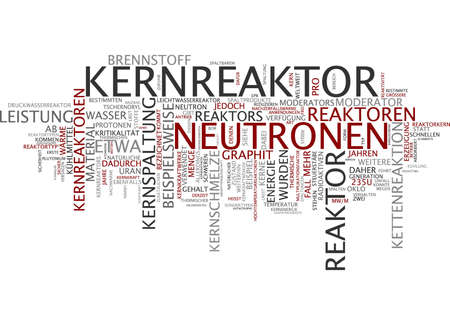 radio active: Word cloud of nuclear power station in German language Stock Photo