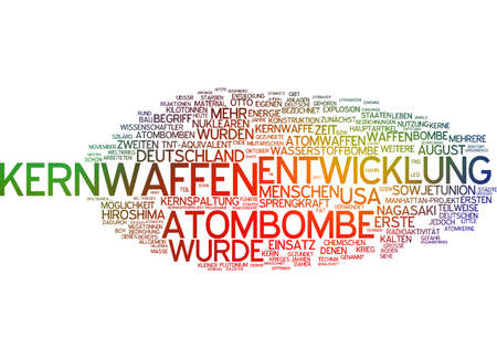 hydrogen bomb: Word cloud of nuclear weapon in German language