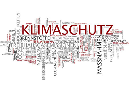 Word cloud of climate protection in German language photo