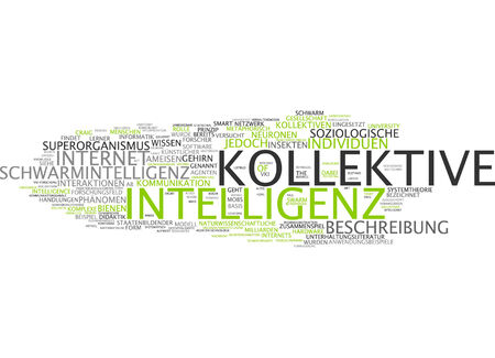 Word cloud of collective intelligence in German language photo