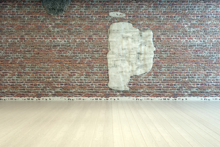 floorboards: Empty Room Interior Design with Wooden Flooring and Abstract Design on Vintage Brick Wall.
