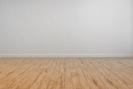 Empty Room Interior mit Off White Wall Plain Mauer und Holzboden Design.