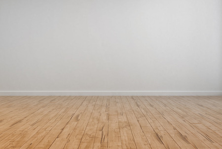 floorboards: Empty Room Interior with Off White Wall Plain Wall and Wooden Floor design.