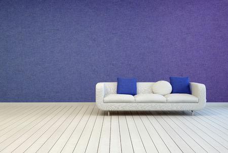 elegante divano bianco e blu verdi cuscini su un vuoto soggiorno ... - Soggiorno Blu E Bianco