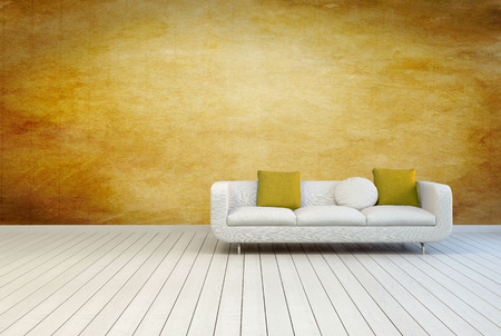 White Couch Furniture with Pillows on an Empty Architectural Room with Wooden Wall and Off White Floor.