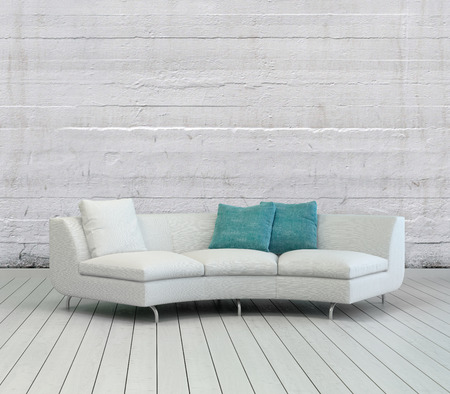 Elegant White Sofa with White and Green Pillows on an Empty Lounge Room with Textured White Wall Background and Wooden Flooring Design.