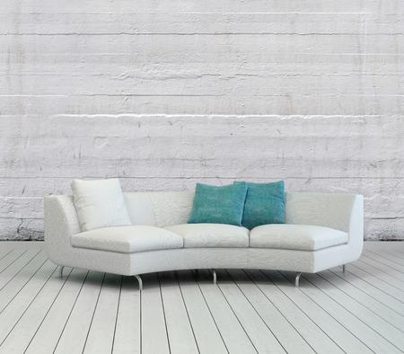 divan: Sofá elegante blanco con blanco y verde Almohadas en un Empty Room Lounge con textura de fondo de pared blanca y Diseño Pisos de Madera.