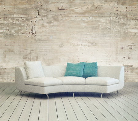 White Couch Furniture on Cozy Living Room with Unfinished Wall Background Design and Wooden Floor.