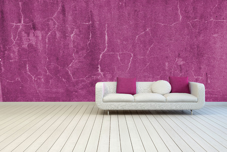 Single Couch with White and Red Violet Pillows on an Empty Living Room with Old Red Violet Wall and Off White Wooden Floor. photo