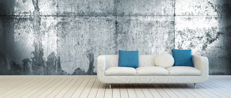 suite: Elegant Couch with White and Blue Green Pillows on an Empty Living Room with Vintage Metal Wall Background and Off White Wooden Floor.
