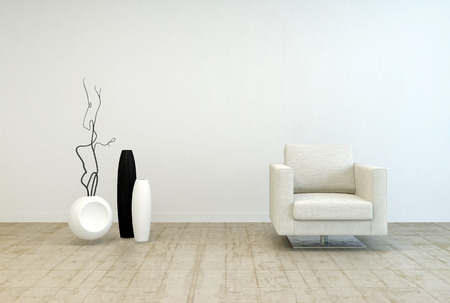 living room minimalist: Off White Single Chair Furniture and Vase Decors at Elegant Living Room with White Wall and Wooden Floor.