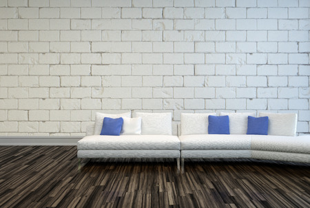 White Couch with White and Blue Pillows on an Architectural Living Room with Seamless Concrete Wall and Wooden Flooring Design Stock Photo