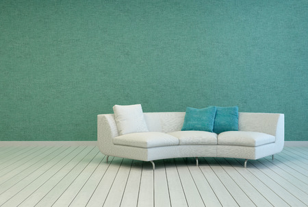 Elegant White Sofa with Square Pillows on an Empty Living Room with Gray Green Wall and Off White Wooden Floor Design.