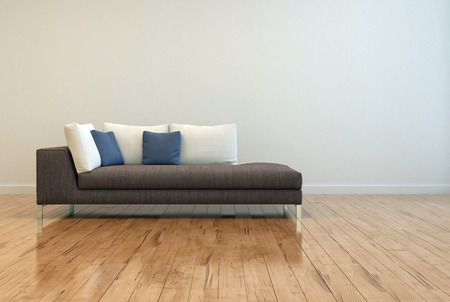 Attractive Gray Sofa with White and Blue Pillows on Empty Lounge Room with Off White Wall Background and Shiny Wooden Floor Design.