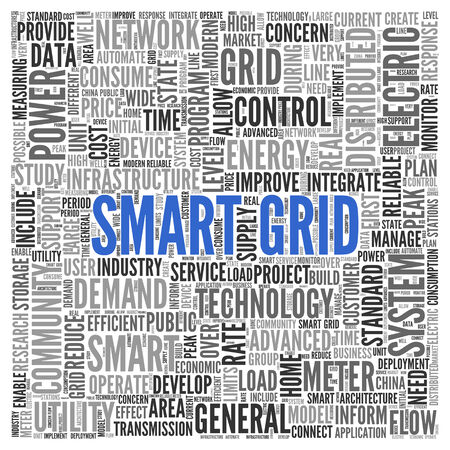 utility: Close up blue SMART GRID Text at the Center of Word Tag Cloud on White Background.