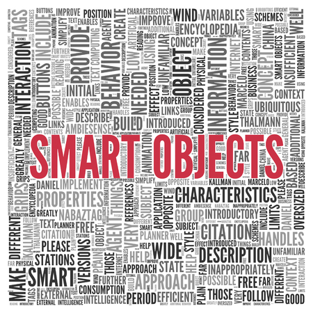 provide information: Close up Red SMART OBJECTS Text at the Center of Word Tag Cloud on White Background.