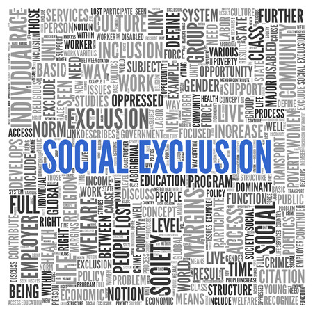 exclusion: Close up Blue SOCIAL EXCLUSION Text at the Center of Word Tag Cloud on White Background. Stock Photo