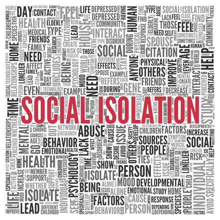 Close up Red SOCIAL ISOLATION Text at the Center of Word Tag Cloud on White Background.