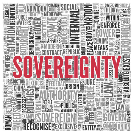 govern: Close up Red SOVEREIGNTY Text at the Center of Word Tag Cloud on White Background.