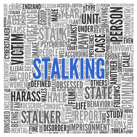 stalking: Close up Blue STALKING Text at the Center of Word Tag Cloud on White Background.