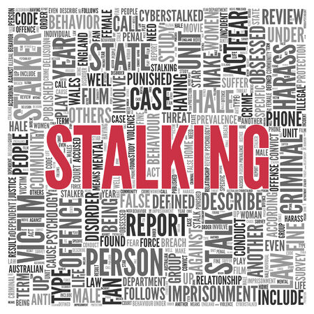 harass: Close up Red STALKING Text at the Center of Word Tag Cloud on White Background.