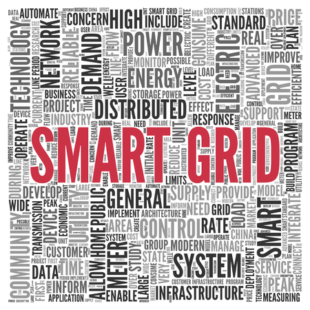 electric grid: Close up Red SMART GRID Text at the Center of Word Tag Cloud on White Background.