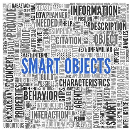 provide information: Close up Blue SMART OBJECTS Text at the Center of Word Tag Cloud on White Background.