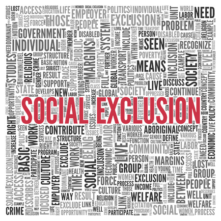 Close up Red SOCIAL EXCLUSION Text at the Center of Word Tag Cloud on White Background.