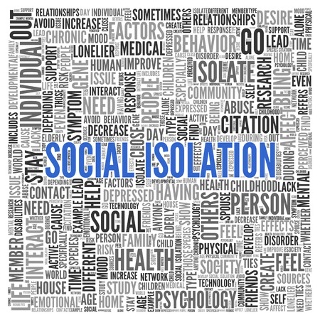 isolation: Close up Blue SOCIAL ISOLATION Text at the Center of Word Tag Cloud on White Background.