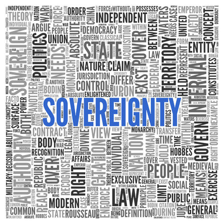 power within: Close up Blue SOVEREIGNTY Text at the Center of Word Tag Cloud on White Background. Stock Photo