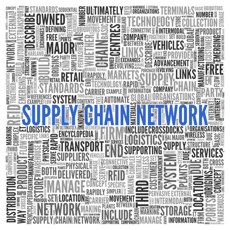 Close up Blue SUPPLY CHAIN NETWORK Text at the Center of Word Tag Cloud on White Background. photo