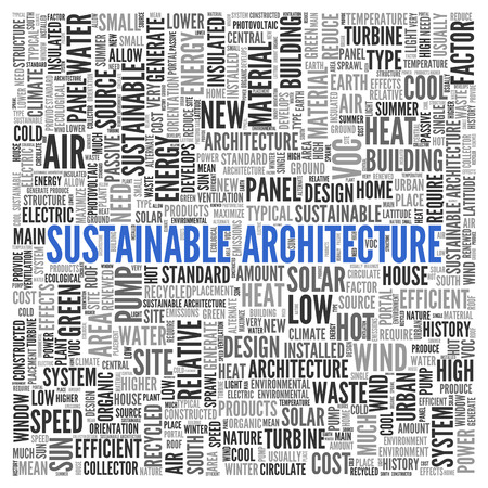 Close up Blue SUSTAINABLE ARCHITECTURE Text at the Center of Word Tag Cloud on White Background. Stock Photo
