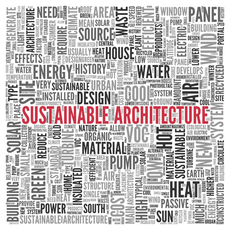 air source heat pump: Close up Red SUSTAINABLE ARCHITECTURE Text at the Center of Word Tag Cloud on White Background.