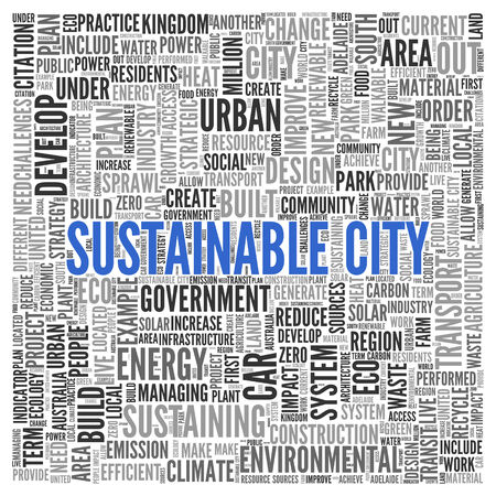 Close up Blue SUSTAINABLE CITY Text at the Center of Word Tag Cloud on White Background. photo
