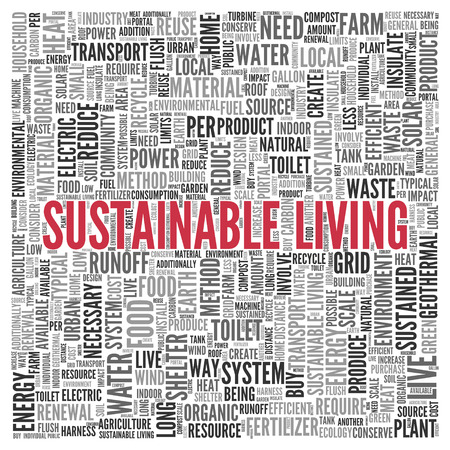 sustained: Close up Red SUSTAINABLE LIVING Text at the Center of Word Tag Cloud on White Background.