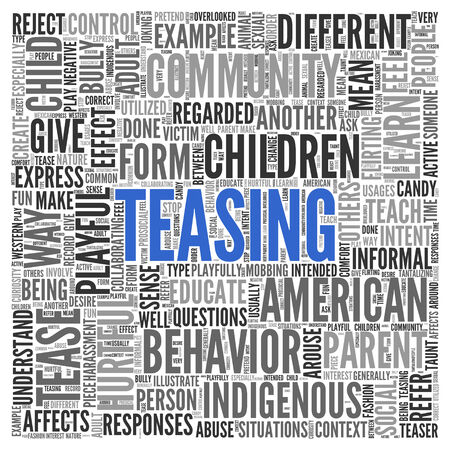 teasing: Close up Blue TEASING Text at the Center of Word Tag Cloud on White Background.