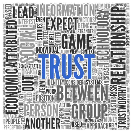 attributed: Text cloud background depicting - Trust - centered in blue surrounded by associated words such as relationship, social, rely, trustworthy, perception in a dense text cloud of different sizes, square