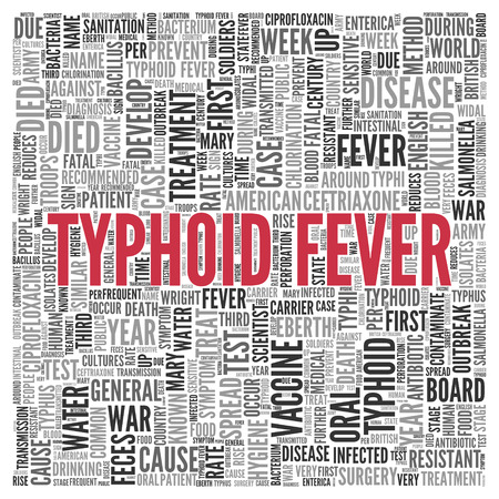 typhus: Close up Red TYPHOID FEVER Text at the Center of Word Tag Cloud on White Background. Stock Photo