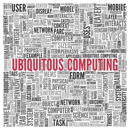 pervasive: Close up Red UBIQUITOUS COMPUTING Text at the Center of Word Tag Cloud on White Background. Stock Photo