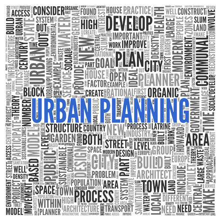 urban planning: Close up Blue URBAN PLANNING Text at the Center of Word Tag Cloud on White Background.