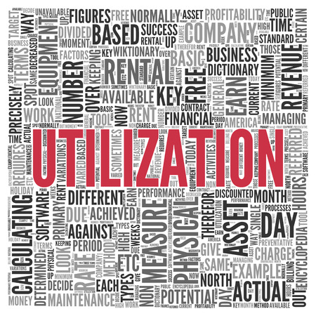 utilization: Close up Red UTILIZATION Text at the Center of Word Tag Cloud on White Background.