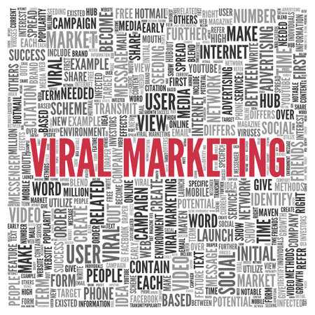 Close up Red VIRAL MARKETING Text at the Center of Word Tag Cloud on White Background. photo